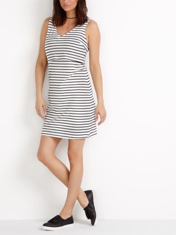 Layered Striped Nursing Dress