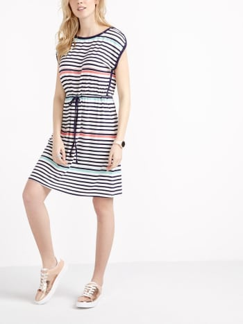 Short Sleeve Striped Nursing Dress