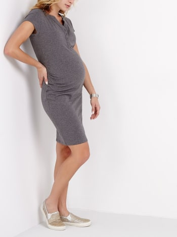 Short Sleeve Henley Maternity Dress