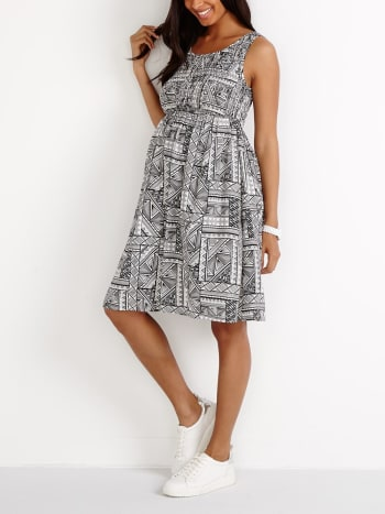 Stork & Babe - Smocked Printed Maternity Dress