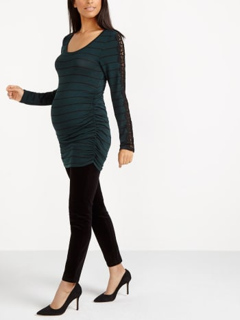 Long Sleeve Striped Maternity Sweater with Lace