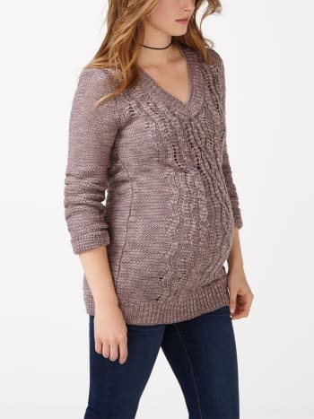 Cable Knit Maternity Tunic Sweater