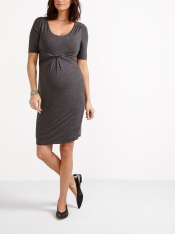 Stork & Babe - Short Sleeve Knotted Maternity Dress