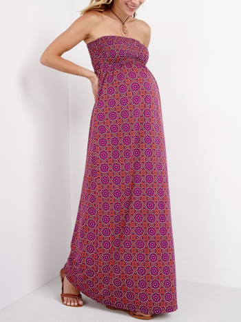 Printed Maternity Maxi Dress
