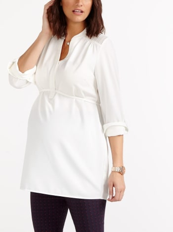 Stork & Babe - Long Sleeve Maternity Blouse with Mesh