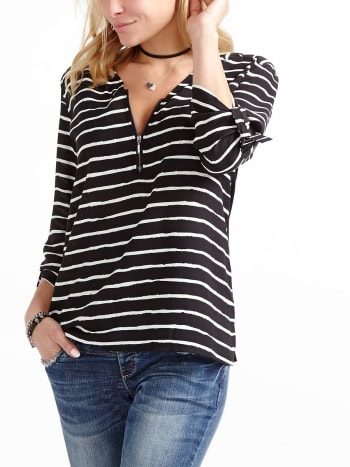Long Sleeve Striped Nursing Blouse