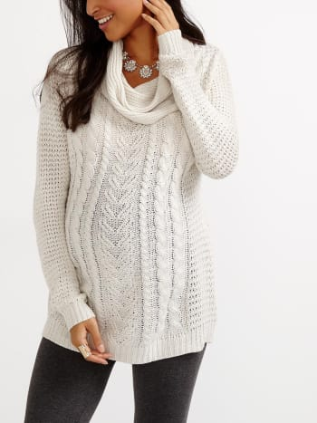 Long Sleeve Cowl Neck Maternity Tunic Sweater