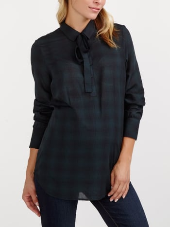 Long Sleeve Plaid Maternity Blouse