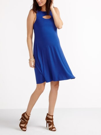 Sleeveless Maternity Dress with Cut Out