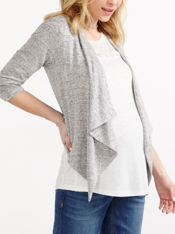 3/4 Sleeve Open Maternity Cardigan