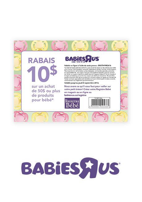 Un coupon-rabais de 10 $ babiesrus