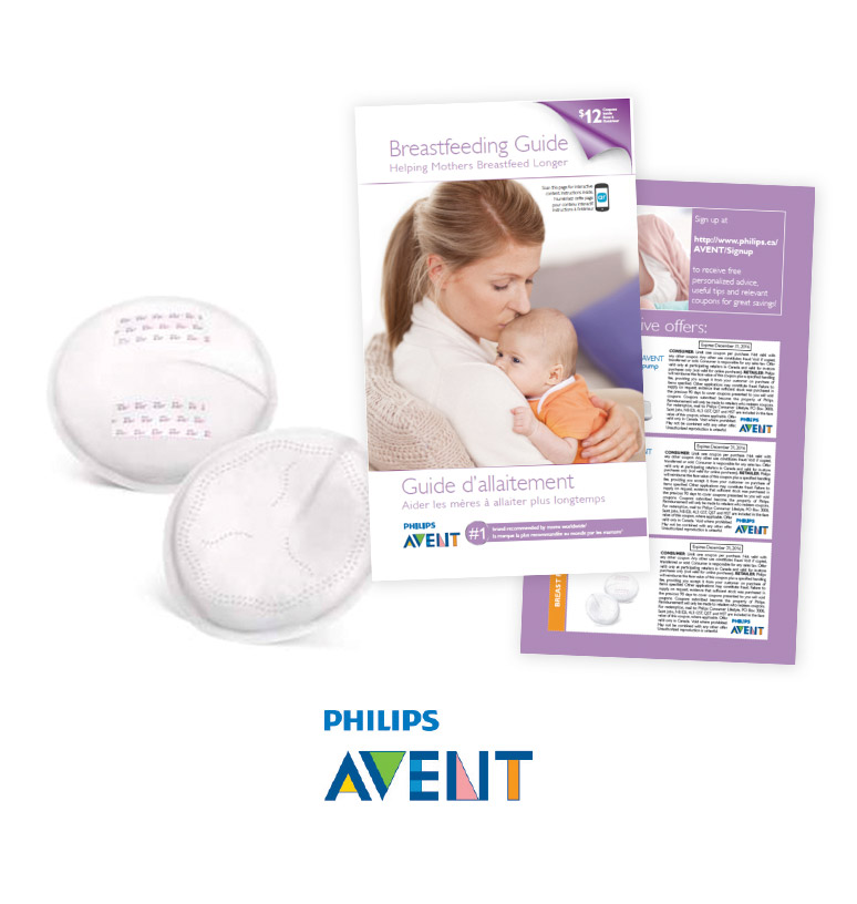 A pack of disposable nursing pads, a breastfeeding guide & $12 coupons
