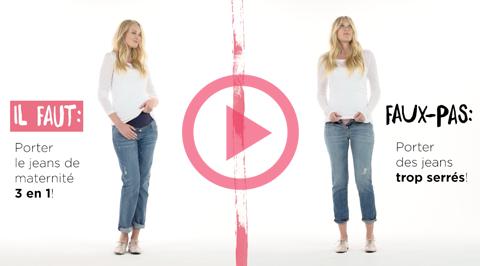 Regardez notre vidéo « Faut » et « Faux pas » pour en apprendre plus sur ces conseils de la mode maternité!