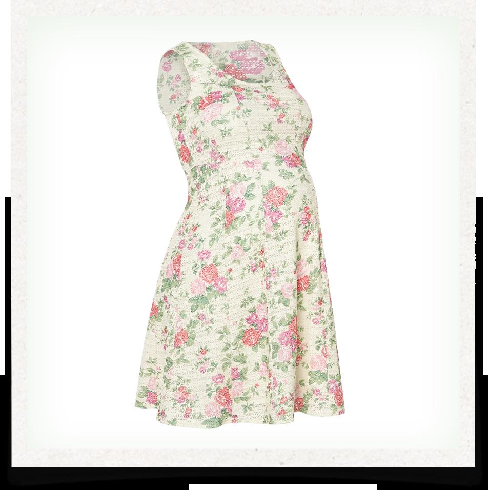 Sleeveless Printed Flared Maternity Dress 737165