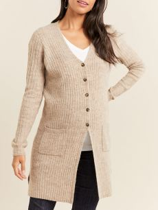 Ribbed Long Sleeve Maternity Cardigan