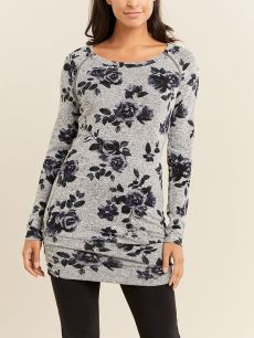 Printed Long Sleeve Nursing Tunic