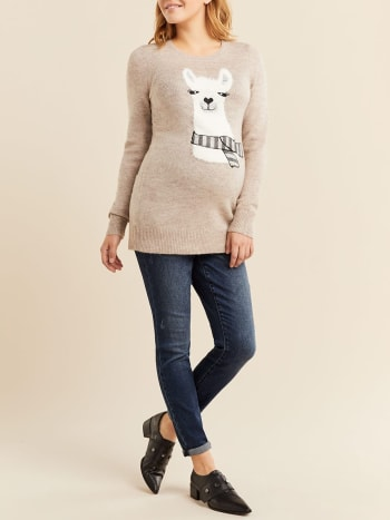 Printed Long Sleeve Maternity Sweater