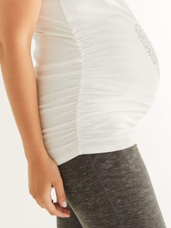 Printed Ruched Maternity Top