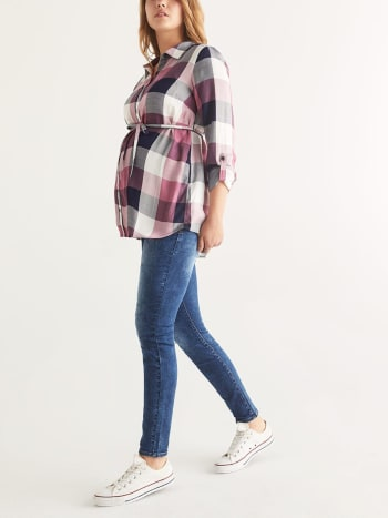 Plaid Maternity Collar Blouse with Belt