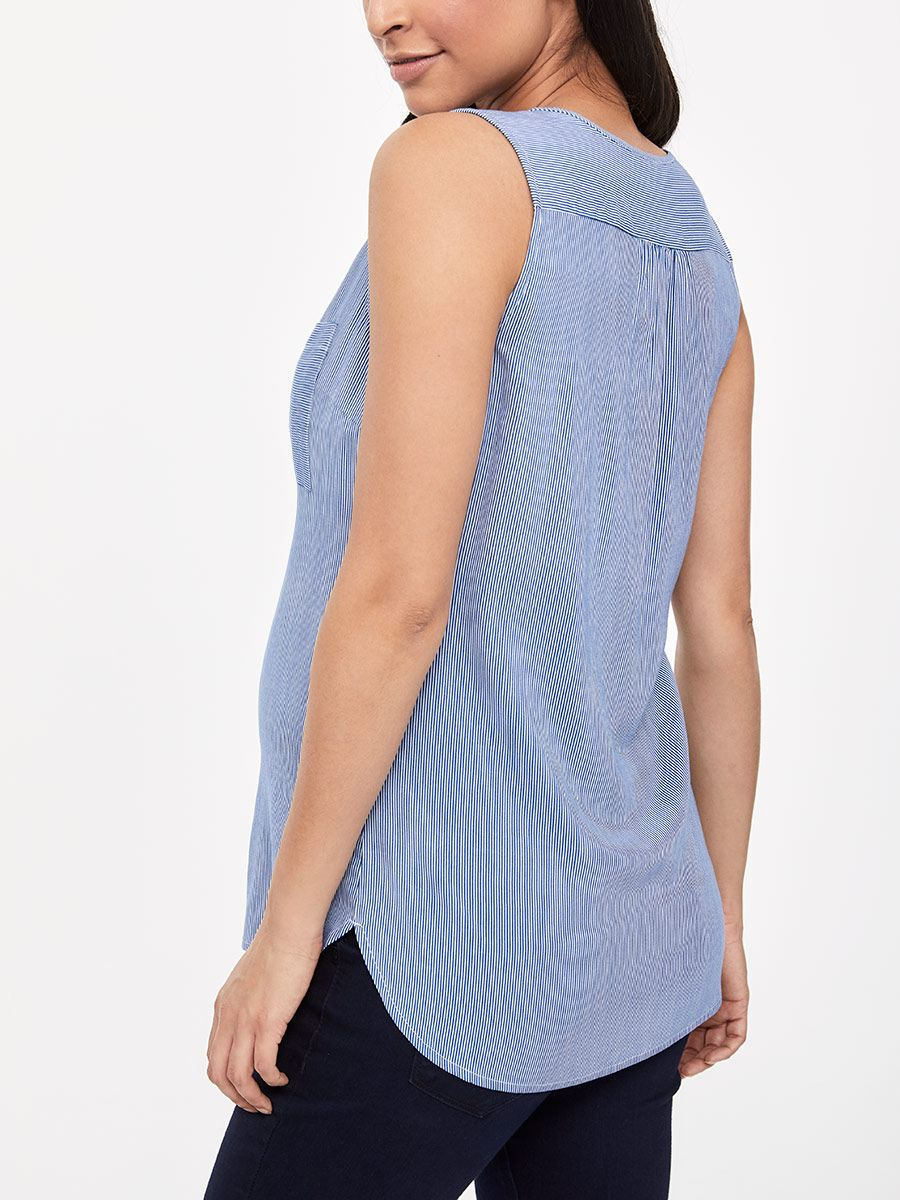 Sleeveless Pinstripe Nursing Blouse with Zip