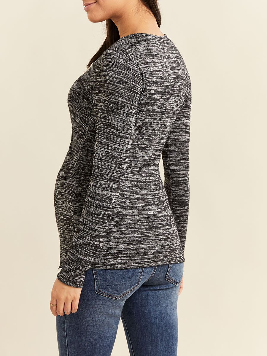 Long Sleeve Front Knot Nursing Top