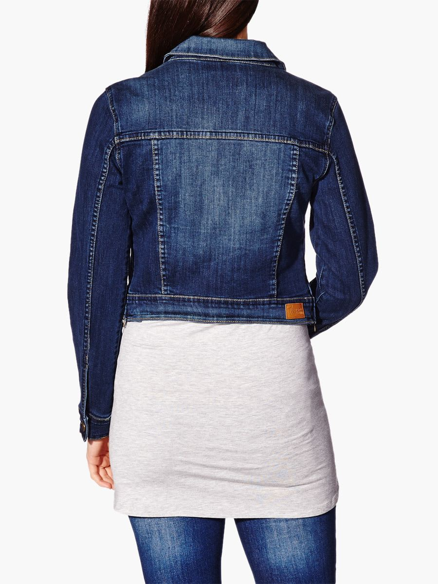 Long Sleeve Cropped Maternity Denim Jacket Thyme Maternity