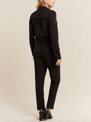 Notch Collar Maternity Jumpsuit