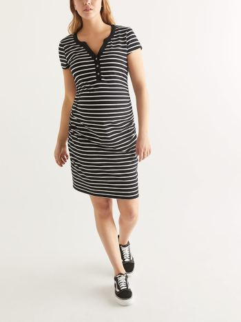 Striped Henley Maternity T-shirt Dress