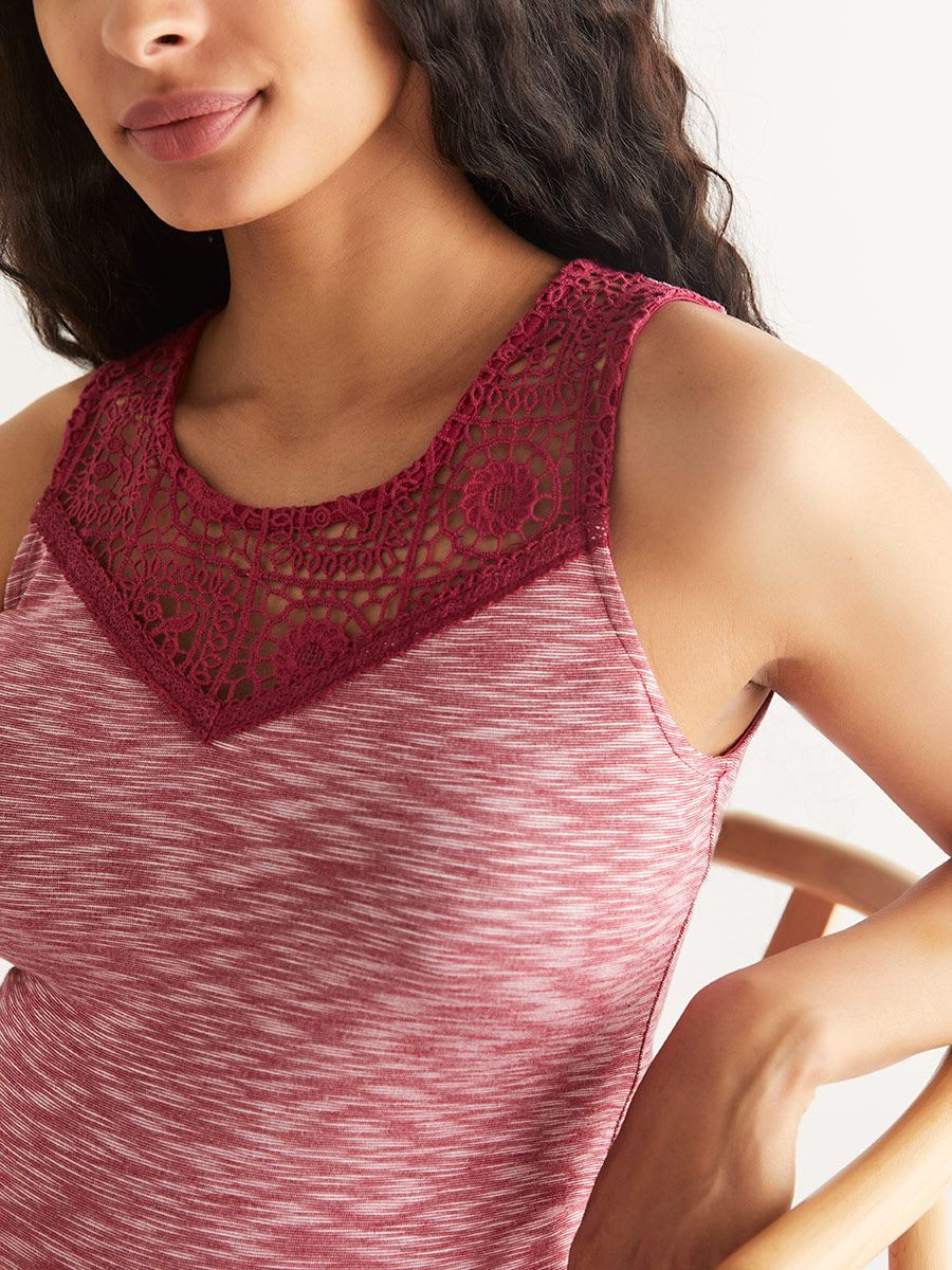 Sleeveless Maternity Top with Lace