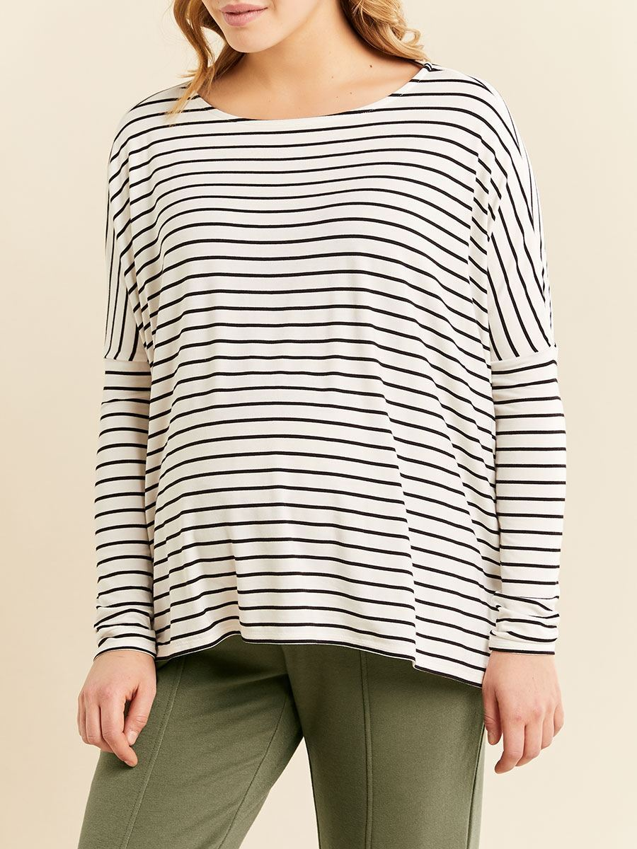 Long Sleeve Boat-Neck Maternity Top