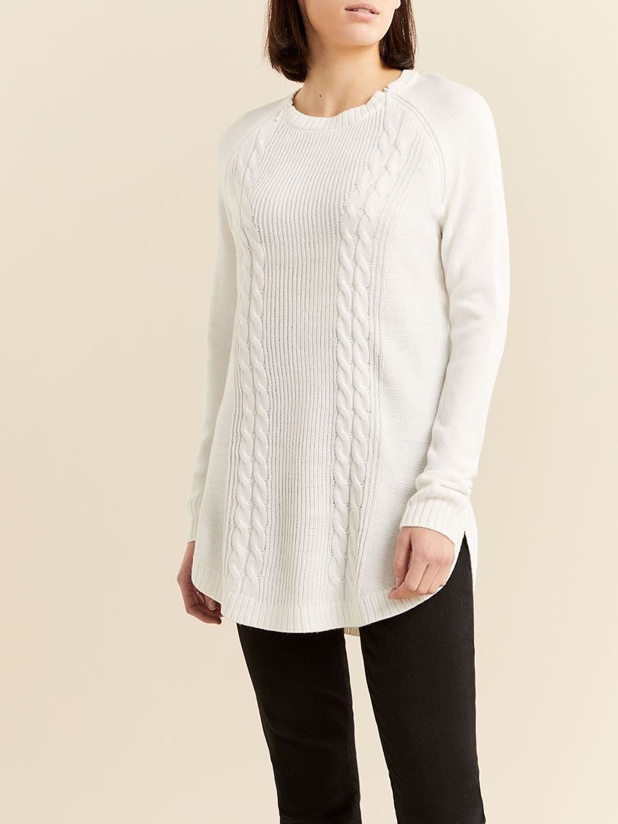 Long Sleeve Cable Nursing Sweater