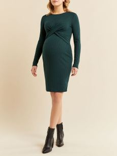 Long Sleeve Ribbed Front-Knot Maternity Dress