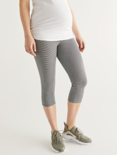 Striped Maternity Capri Legging