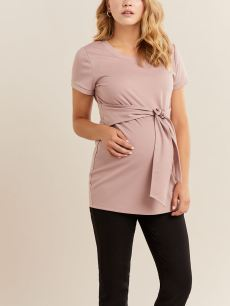 Solid Front Tie Maternity Top