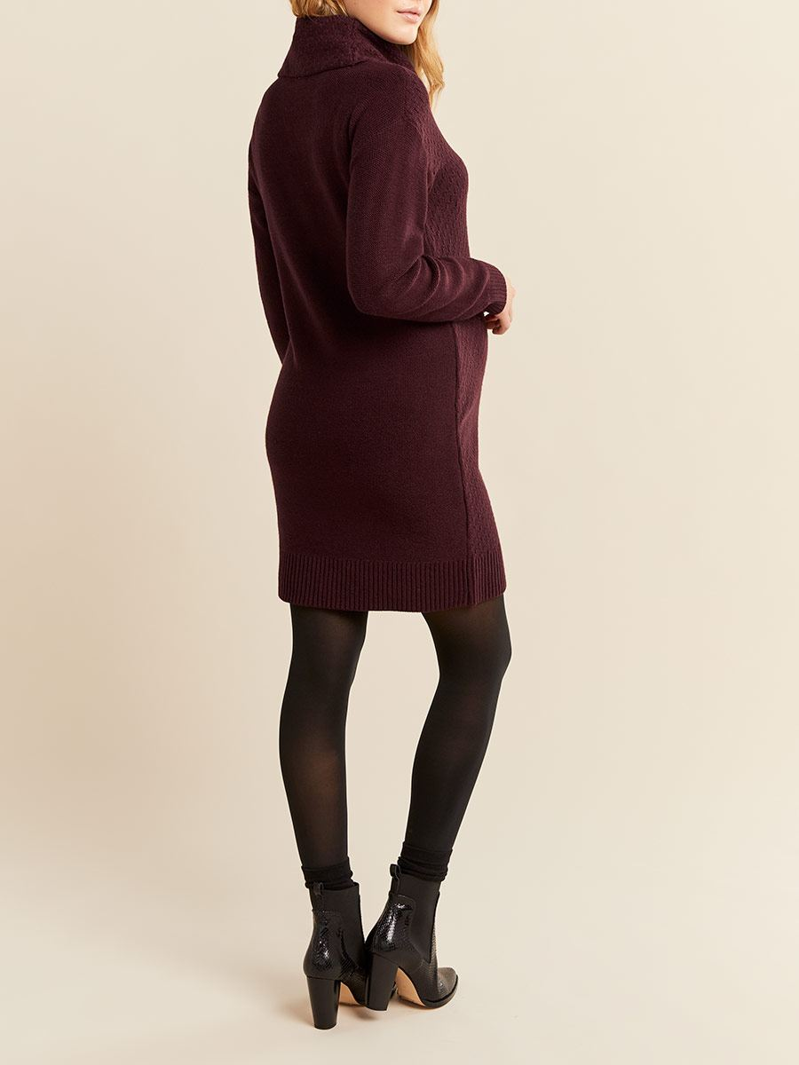 Stork & Babe - Long Sleeve Cowl Neck Maternity Sweater Dress