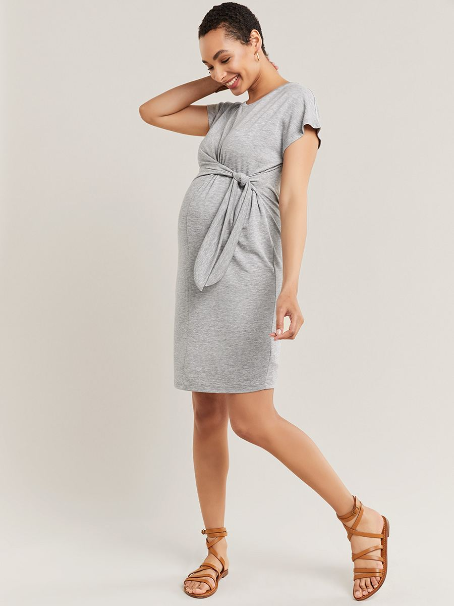 Short Sleeve Maternity Dress With Knot