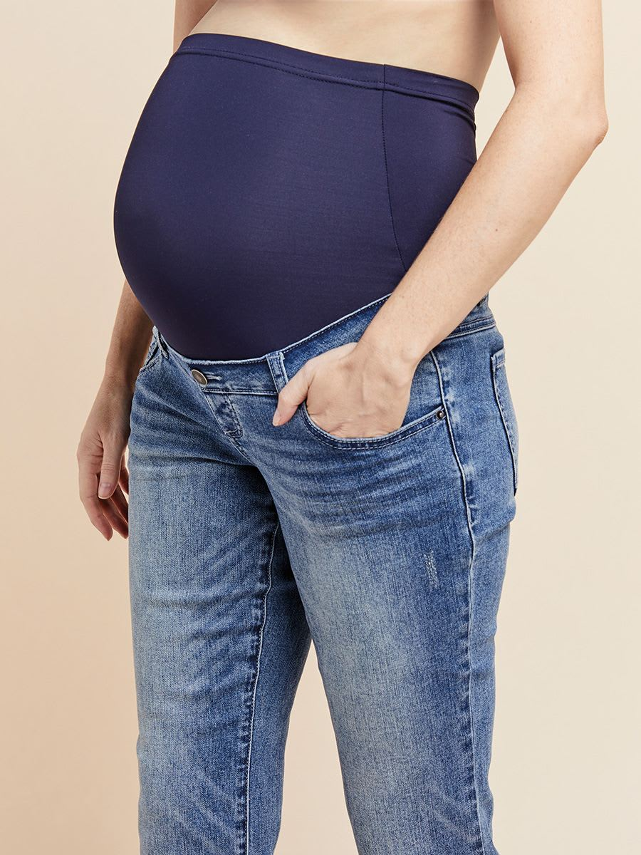 Light Blue Straight Ankle Maternity Jean