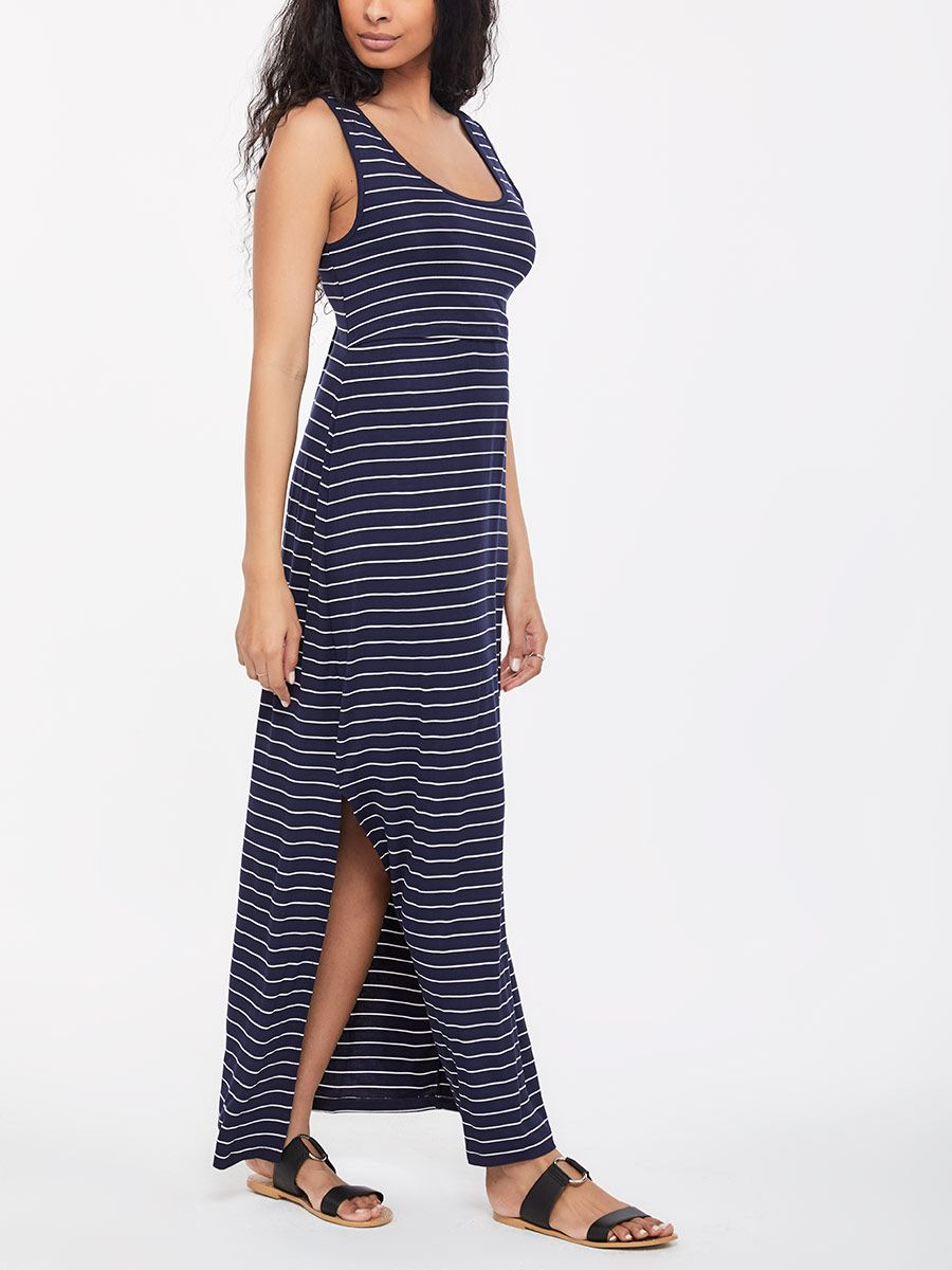 Printed Sleeveless A-Line Nursing Maxi Dress