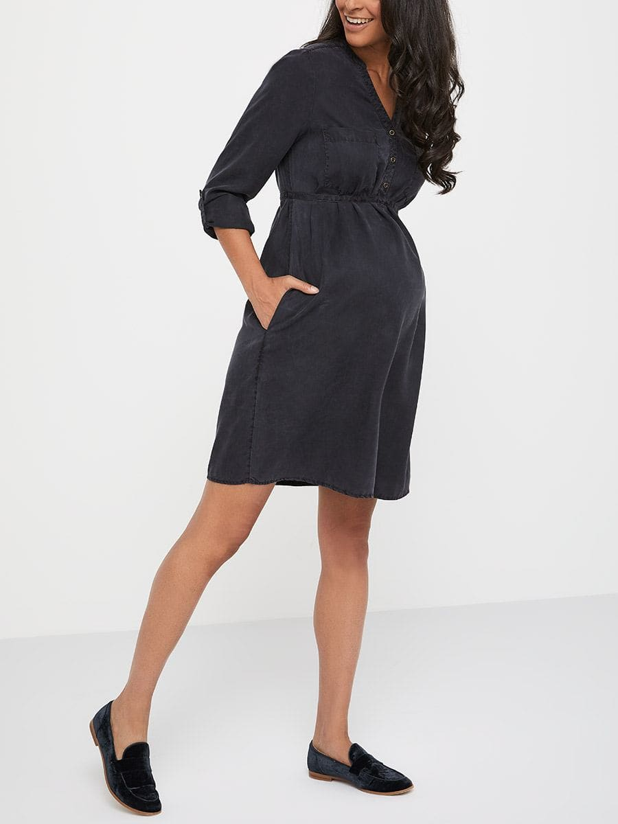 bb4e4addf49b4 Tencel Maternity Dress with Buttons | Thyme Maternity