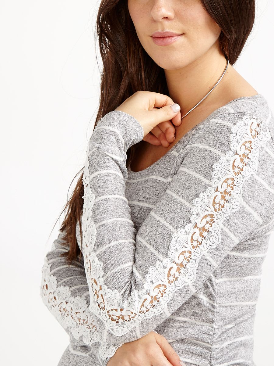 Long Sleeve Striped Maternity Sweater with Crochet