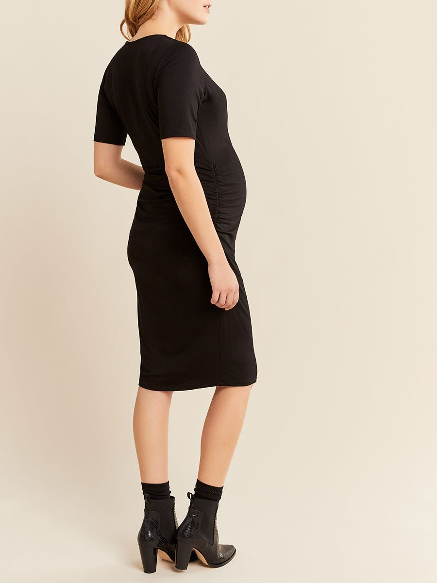 Ruched Short Sleeve Wrap Maternity Dress