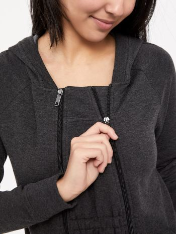 Long Sleeve Nursing Hoodie with Extender Panel