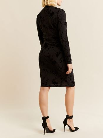Stork & Babe - Long Sleeve Mock Neck Flock Maternity Dress