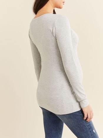 Ribbed Long Sleeve Maternity Top
