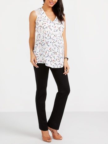 Stork & Babe - Floral Maternity Blouse with Lace