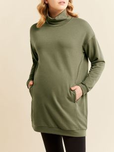Long Sleeve Mock Neck Maternity Tunic