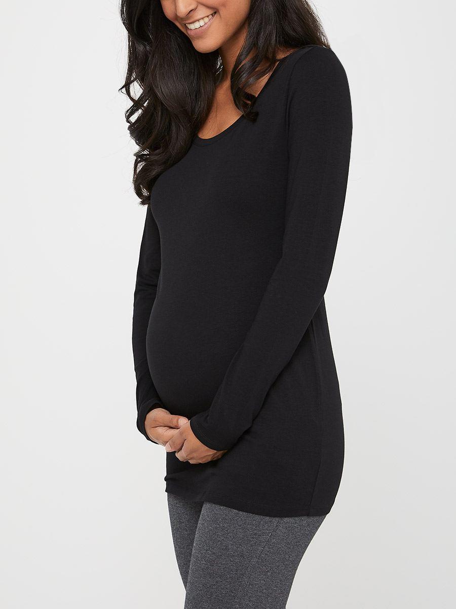 bb4cbb10efd Long Sleeve Scoop Neck Maternity T-Shirt   Thyme Maternity