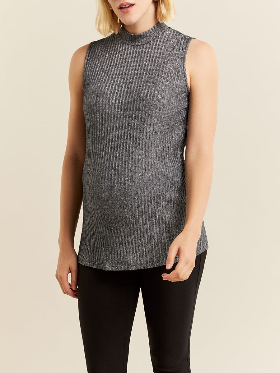 Stork & Babe - Sleeveless Shiny Mock Neck Maternity Top