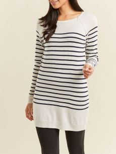 Striped Long Sleeve Nursing Tunic