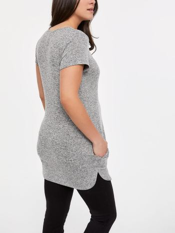 Short Sleeve Nursing Tunic with Front Zip